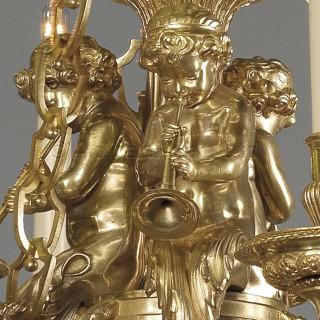 A Louis XVI Style Gilt-Bronze Cherub Six-Light Chandelier