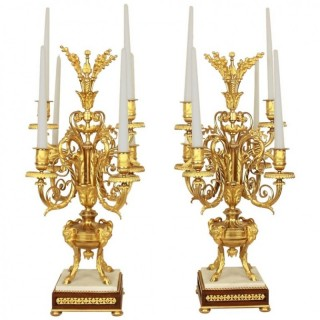 Pair of French Louis XVI Style Gilt-Bronze Candelabras, Mid-19th Century