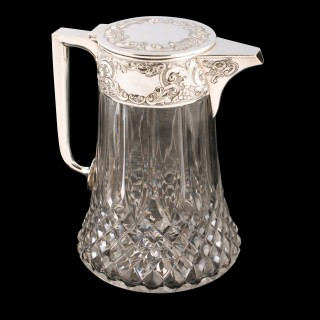 Silver Plated Cut Glass Water Jug