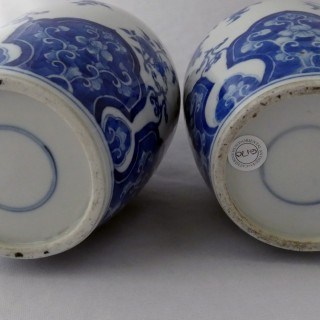 Kangxi blue and White Pair of Lidded Vases