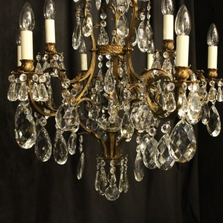French Bronze & Crystal 10 Light Chandelier