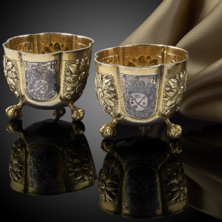 A Rare Pair of Russian silver Vodka cups, C.1680
