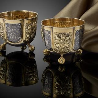 A Rare Pair of Russian silver Vodka cups, C.1680