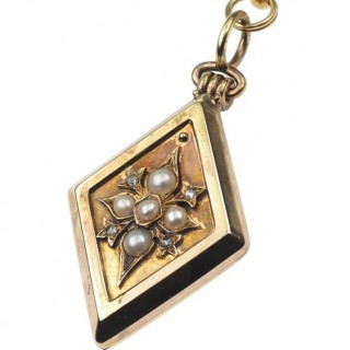 """18 ct. Gold Necklace with Locket as Pendant """"Bookchain"""" with Pearls & Diamonds, from Victorian England approx. 1880"""