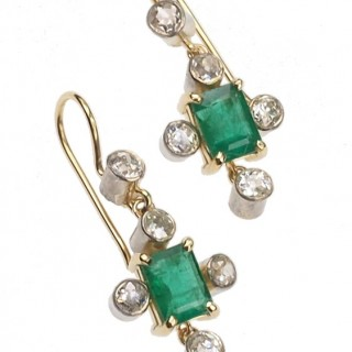 18 ct. Gold & Platinum Earrings with Emeralds & Diamonds, french Earrings approx. 1960s Vintage