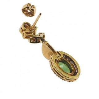 18 ct. Gold Earrings with olive-green Tourmalines & Diamonds, Vintage Tourmalinesearrings from 1960s