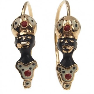 "14 ct. Gold & Enamel Earrings ""Blackmoore"" Victorian Italy approx. 1900"
