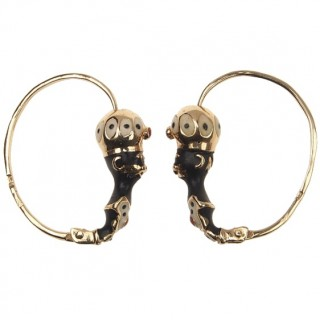 """14 ct. Gold & Enamel Earrings """"Blackmoore"""" Victorian Italy approx. 1900"""