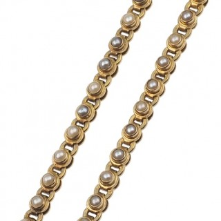 "15 ct. Gold Victorian Necklace with Pearls Motifs ""Moon & Stars"" from England approx. 1890, Goldcollier"