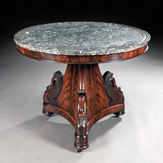 Fine Mahogany French Empire Marble Topped Gueridon