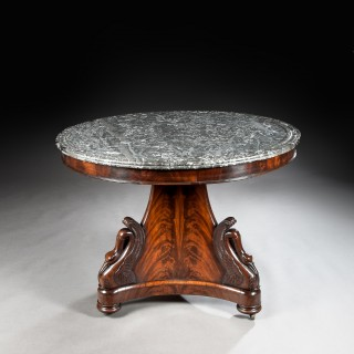 Fine Mahogany French Empire Marble Topped Gueridon