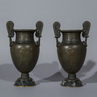 Pair of 19th Century Grand Tour Greek Bronze Volute Krater Vases