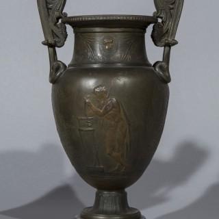 Pair of 19th Century Grand Tour Greek Bronze Volute Krater Vases