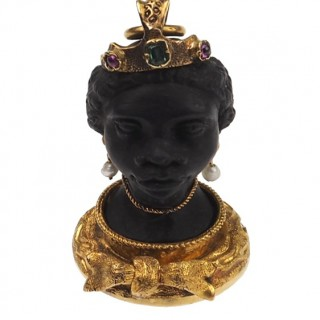 """18 ct. Gold Pendant """"Blackamoore seal"""" with carved Onyx head Georgian England approx. 1800"""