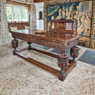 Elizabeth I oak carved draw leaf table