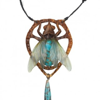 Horn Necklace with Glass pearls signed by Elizabeth Bonté in Art nouveau France approx. 1900