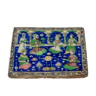A Qajar polychrome tile