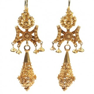18 ct. Gold Georgian Earrings with Granulations technique and Filigrée works, Goldearrings from France approx. 1790