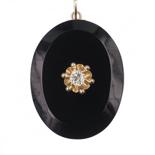Onyx Locket with 15 ct. Gold & 1 Rose-cut Diamond, large Chain pendant from Victorian England approx. 1880