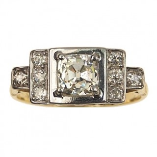18 ct. Gold / Platinum Ring with Diamonds of Art déco approx. 1930