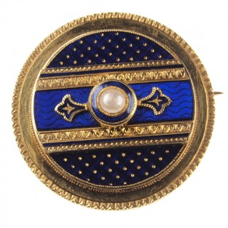 18 ct. Gold Brooch Enamel & Natural pearl France ca. 1870