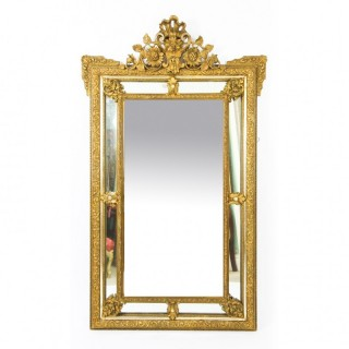 Antique French Giltwood Overmantel Louis Revival Mirror C1860 19th C