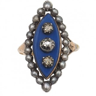 18 ct. Gold Georgian Ring with blue Glass, 3 Old-cut Diamonds & Natural pearls, from France approx. 1800