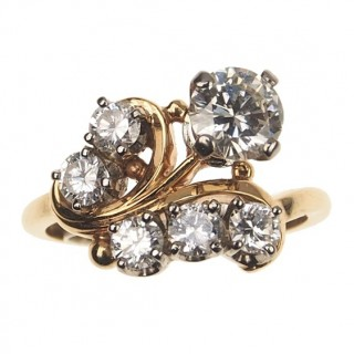 18 ct. Gold / Platinum Art déco Ring with Diamonds England approx. 1930s