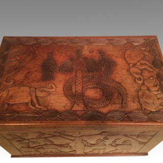 West African carved mahogany trunk.