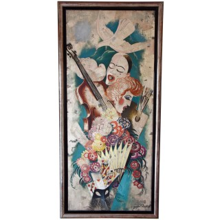 Art Deco Painting Pierrot And Columbine