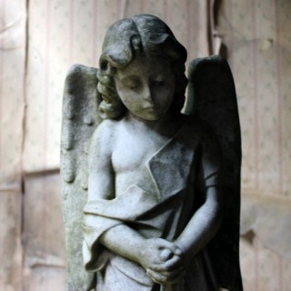 A Finely Carved 19thC White Marble Graveyard Monument of An Angel c.1870