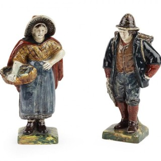 Rare pair of: ROZENBURG figures, showing a fisherman and woman. marked for: ROZENBURG, 1894