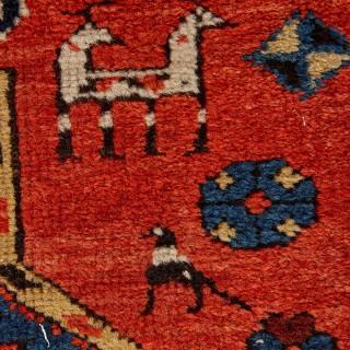 Antique Caucasian hand-woven wool rug