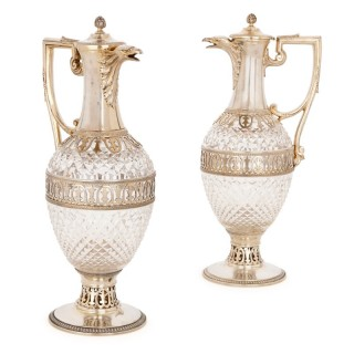 Two silver mounted cut glass claret jugs by Tétard Frères