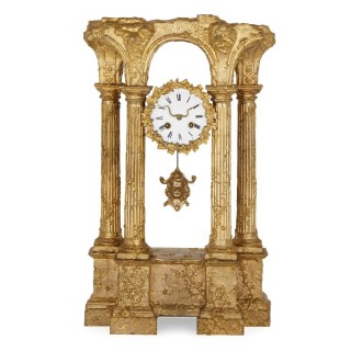 Gilt bronze mantel clock in form of Roman ruin