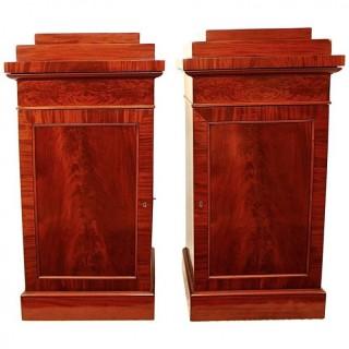 Pair of German/Berlin Biedermeier Mahogany Pedestal cabinets, ca. 1810