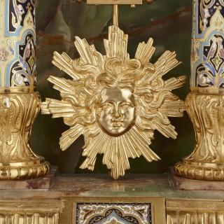 Onyx, marble, gilt bronze and champlevé enamel pedestal clock