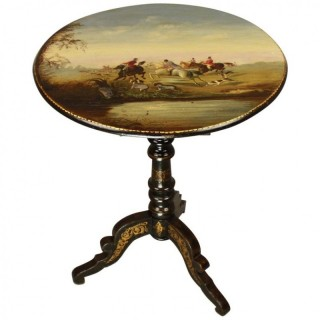 19th Century Lacquer Tripod Side Table With Foxhunting Scene