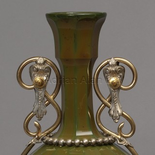 An Unusual Pair Of Lithyalin Green Glass Vases