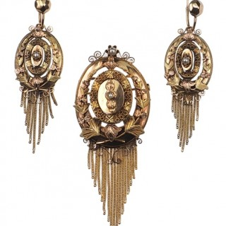 18 ct. Gold Set of Brooch / Pendant and Earrings with Pearls Napoleon III. Era France approx. 1865