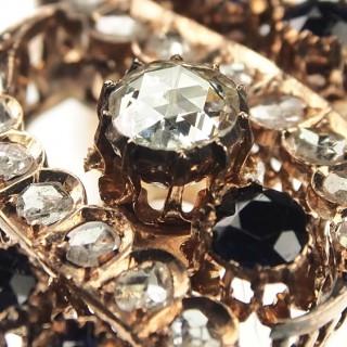 15 ct. Gold Bangle Diamonds & Sapphires Victorian England ca. 1880