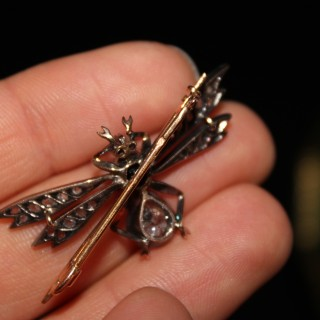 18ct Yellow Gold & Silver French Vicroian Diamond and Sapphire Bug Brooch, Circa 1890