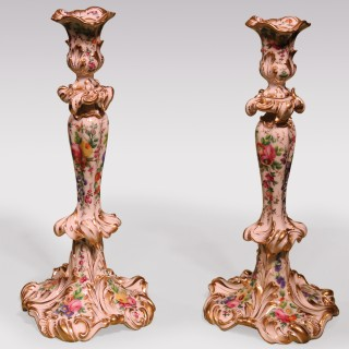 Pair Of Mid 19th Century Rococo Paris Porcelain Candlesticks