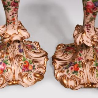 Pair Of Mid 19th Century Rococo Paris Porcelain Candlesticks