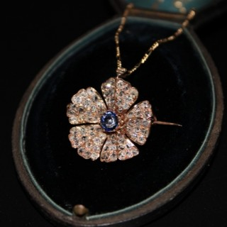 18ct Rose Gold, Diamond & Sapphire Flower Brooch/Pendant, with 18ct Yellow Gold Chain, Circa 1910