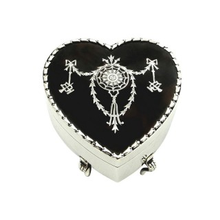 Antique Edwardian Sterling Silver & Tortoiseshell Heart Trinket Box 1907