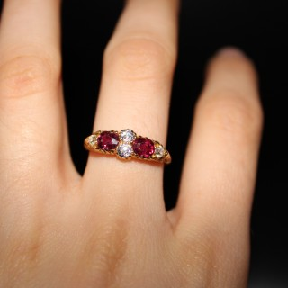 18ct Yellow Gold Victorian Ruby & Diamond Five Stone Effect Ring, Circa 1900