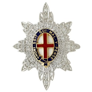 0.59ct Diamond and 18ct White Gold 'Coldstream Guards' Sweetheart Brooch - Vintage 1977