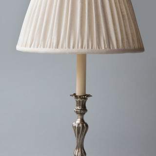 PAIR OF LOUIS XV STYLE CANDLESTICKS CONVERTED TO LAMPS, 19TH CENTURY