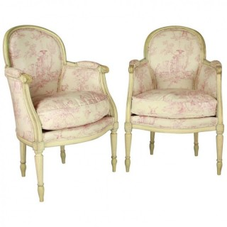 Pair of French Louis XVI Style  Neoclassical Armchairs with Vintage Toile de Jouy Fabric, late 19th Century